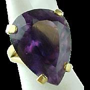 SALE Custom 14K Yellow Gold Large 13 Carat Pear Shape Amethyst Ring