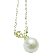 """14K Yellow Gold 5.5 mm Pearl & Diamond Necklace 16"""""""