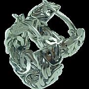 SOLD 14K White Gold  Byzantine Hoop Pierced Earrings