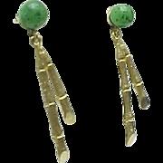 14K Yellow Gold Pierced Bamboo Jade Earrings