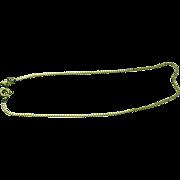 "14K Yellow Gold Box Chain Bracelet/Anklet 9"" ~ Circa 1980'S"