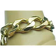 "14K Yellow Gold 10"" Curb Bracelet Solid & Heavy  (Over 2-1/3rd Oz. of Gold)"