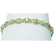 14K Yellow Gold 6 Carat CZ Tennis Bracelet
