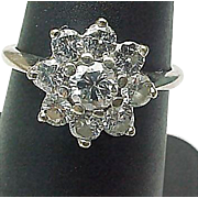 SALE Beautiful Estate 14K White Gold 1.25 Carat Diamond Cluster Ring (VS1-SI1 CLARITY ...