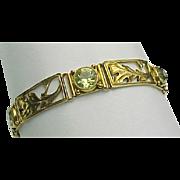 14K Yellow Gold Hinged Panel 7.00 Carat Yellow Sapphire Bracelet