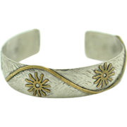 Handmade Sterling Silver and Bronze Cuff Bracelet Signed ~ Phyllis Laz