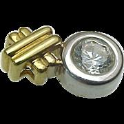 18K Two Tone 1 Carat Faux Diamond Pendant