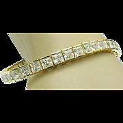 Beautiful Sterling Silver /Vermeil 18 Carat Princess Cut Faux Diamond Tennis Bracelet