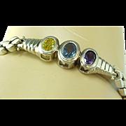 Beautiful Topaz, Amethyst, Citrine Sterling Silver Link Bracelet
