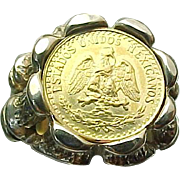 14Kt Yellow Gold Hand Crafted, Dos Pesos Mexican Gold Coin Ring