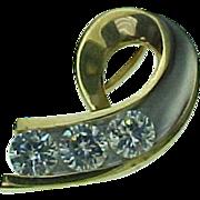 Vintage 14K Two Tone Gold 1.5 Carat Simulated Diamond Slide Pendant