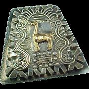 Vintage Peruvian 18k Gold & Sterling Llama Pin