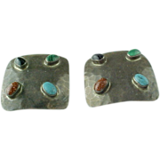 Vintage Mexico, Taxco, Sterling Silver Hammered Multi Gem Clip On Earrings