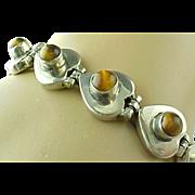 Vintage Sterling Silver, Tigers Eye Heart link Bracelet