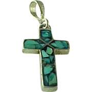 Hand Crafted Sterling Silver, Reversible Inlaid Turquoise & Simulated Diamond CROSS