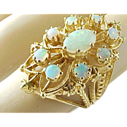SALE Vintage 14 K Yellow Gold Opal Cocktail Ring