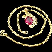 "SALE 22K Yellow Gold 7.25 Karat Natural Ruby Asian Phoenix Bird Pendant & 16"" Chain"