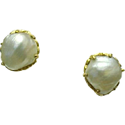 22k Yellow Gold Cultured Baroque 9 mm Pearl Stud Screw Back Earrings