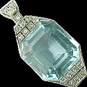 SALE Art Deco 25 Carat Aquamarine & Diamond Platinum Pendant