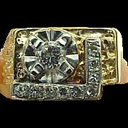 SALE 14K Yellow Gold 3/8 Carat Diamond Nugget Ring