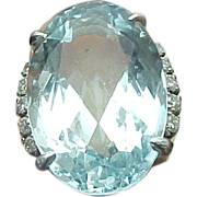 Large 25 Carat Art Deco Aquamarine & Diamond Ring ~ GIA Appraisal