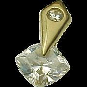 14K Yellow Gold 2.04 Floating Cushion Cut Gemstone Diamond Pendant