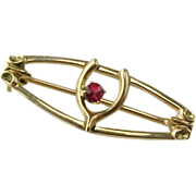Vintage Rose Gold Wish Bone Brooch  With Garnet Accent