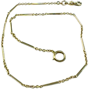SOLD Vintage 10 K  Yellow Gold Watch Fob Chain