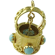 SALE Exquisite 18K Persian Turquoise Wishing Well Pendant/Charm