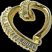 Stunning Gold Vermeil Faux 10 Carat Baguette Diamond Open  Heart Slide Pendant