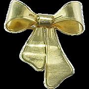 Vintage Gold Bow Brooch Pendant Avon 1980