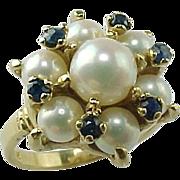 SALE Vintage 14k Yellow Gold Akoya Pearl & Sapphire Ring