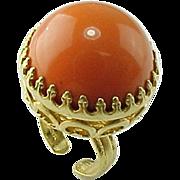 Vintage Napier Large Dome Faux Coral Ring
