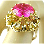 SALE Luxurious 6.5 Carat Raspberry Pink Sapphire And 1.00 Carat White Sapphire Ring