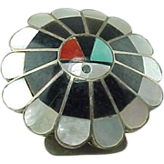 Vintage Sterling Silver  Mosaic Inlay Sun Face  Bolo Slide