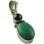 Vintage Sterling Silver Malachite And Cats Eye Pendant