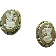 Vintage 800 Silver Carved Cameo Screw Back Earrings ~ Circa 1950's