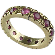 SALE Vintage 14K Yellow Gold 1.50 Carat Ruby Eternity Band