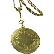 Victorian Gold Filled Large Round Locket With Handmade Chain
