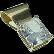 Vintage 14K Yellow Gold 8 Carat Emerald Simulated Diamond Pendant