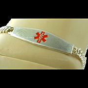 Vintage Sterling Silver 8 mm Engravable Medical Link Bracelet