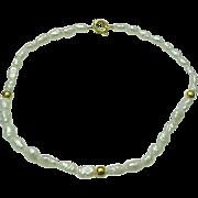 "Delicate Seed Pearl & Gold Bead Bracelet 8 1/2"""