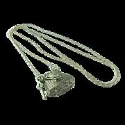 Miniature Sterling Silver Crocodile Purse Keepsake Locket Necklace
