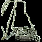 Vintage Sterling Silver Miniature Purse Keepsake Locket/Purse Necklace