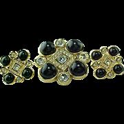 Vintage MONET Gold Tone Rhinestone & Faux Onyx Brooch & Matching Earrings
