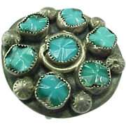 Vintage Sterling Silver, Polished Round Sleeping BeautyTurquoise Ring