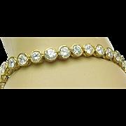 Stunning Vermeil 9 Carat Round Bezel Set Faux Diamond Bracelet
