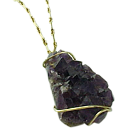 """Vintage Large Amethyst Geode Pendant and 30"""" Gold Filled Chain"""