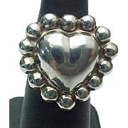 Vintage Sterling Silver Beaded Puffed Heart Ring