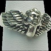 Kabana Sterling Silver Cherub Angel Ring Guardian Angel